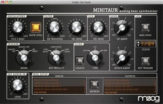 moog minitaur software 555x355 Sintetizzatori e Drum Machine, Sintetizzatori e Tastiere, Synth Desktop