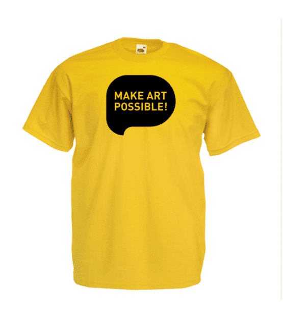 Milk TShirt ART Y Front 555x616 Milk T Shirt – Make Art Possible! (Yellow)