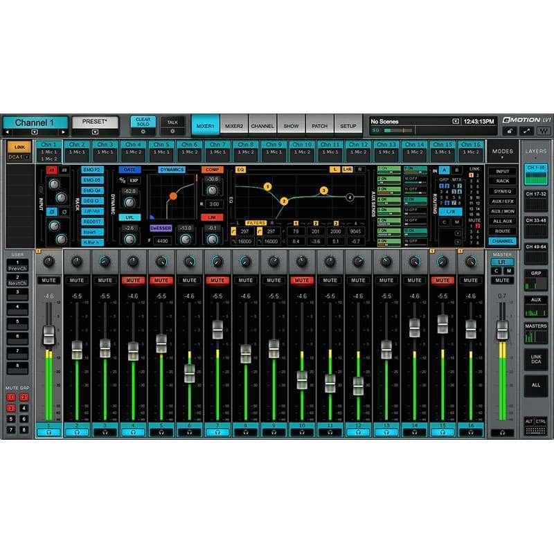 Waves emotion lv1 01 Waves eMotion LV1 Live Mixer 16 Stereo Channels