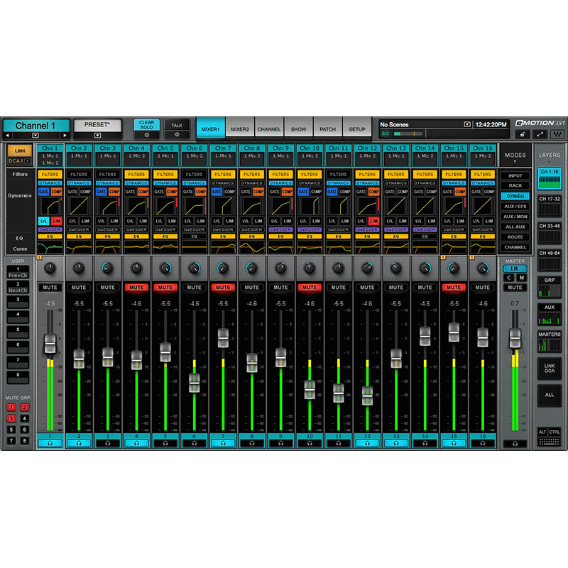 Waves emotion lv1 02 Waves eMotion LV1 Live Mixer 16 Stereo Channels