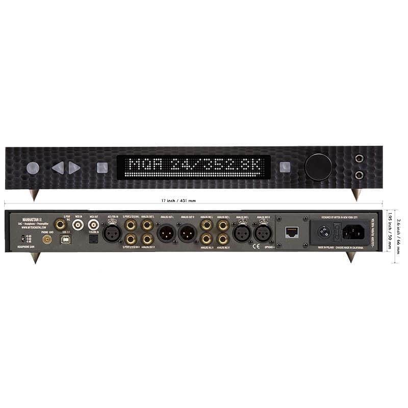 Manhattan DAC front back 1 Audio digitale: Convertitori e schede audio, Convertitori audio professionali, DAC Audio, HI FI Alta fedeltà, Strumentazioni Pro Audio per studi di registrazione