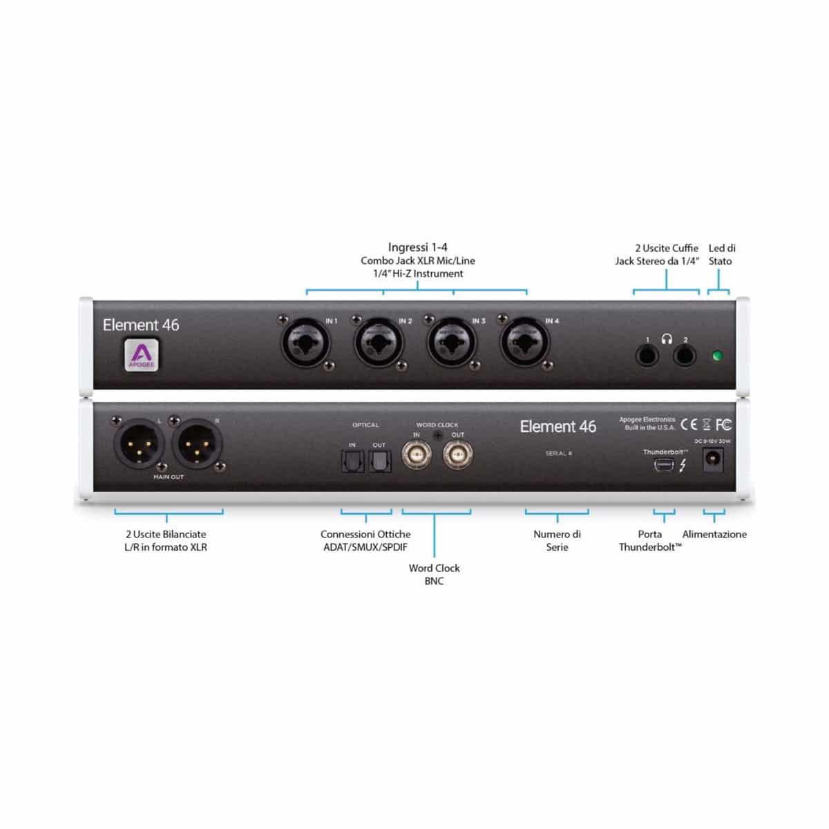 Apogee ELEMENT 46 Pro Audio, Audio Digitale, Schede Audio per PC e MAC Apogee Element 46 041