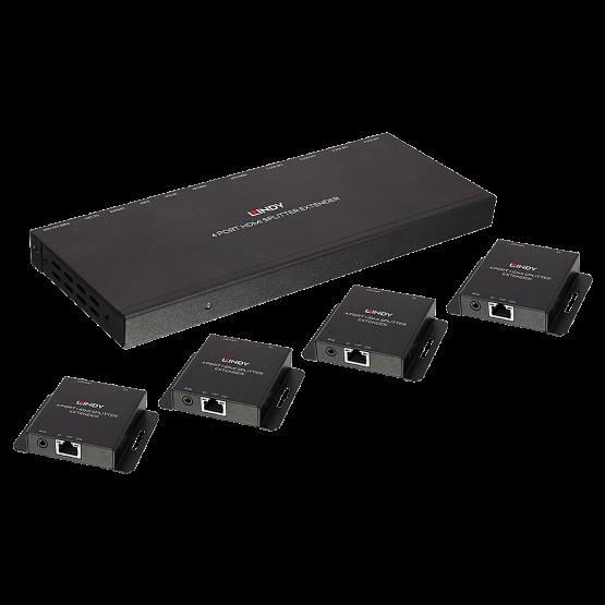 38155 1 555x555 Lindy Extender Splitter HDMI & IR Cat.6 50m 4 Porte